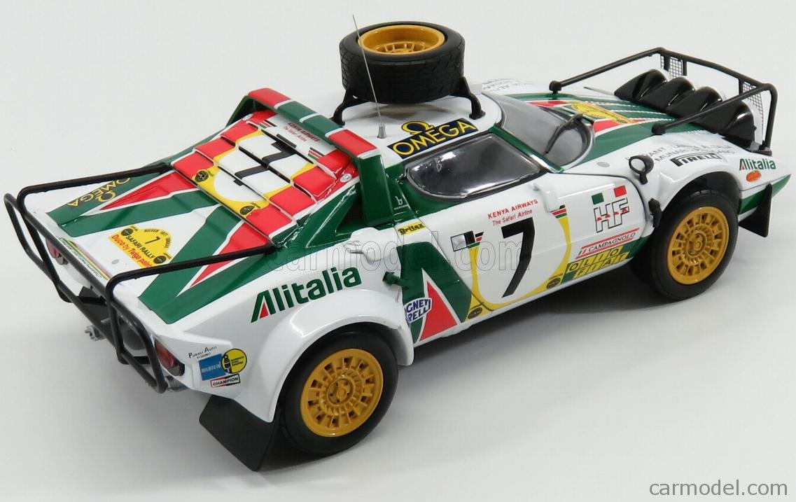 SUN-STAR 04564 Scale 1/18  LANCIA STRATOS HF ALITALIA N 7 3rd RALLY SAFARI 1977 S.MUNARI - P.SODANO WHITE GREEN RED