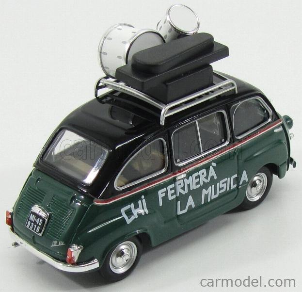 BRUMM PROM S16/01B Echelle 1/43  FIAT Fiat 600D MULTIPLA 50th ANNIVERSARIO POOH 1966-2016 (DAL VIDEO 'CHI FERMERA' LA MUSICA' 1981) TV SERIES GREEN BLACK