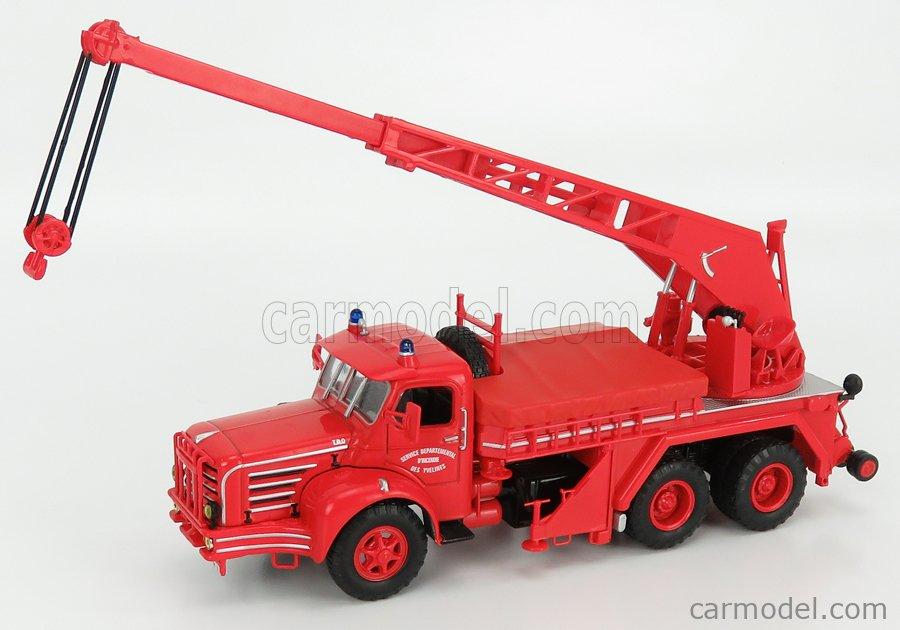 EDICOLA G190E007 Scale 1/43  BERLIET TBO15 M3 3-ASSI TRUCK FIRE ENGINE SERVICE DEPARTEMENTAL D'INCENDIE DES YVELINES WITH GRU 1960 RED