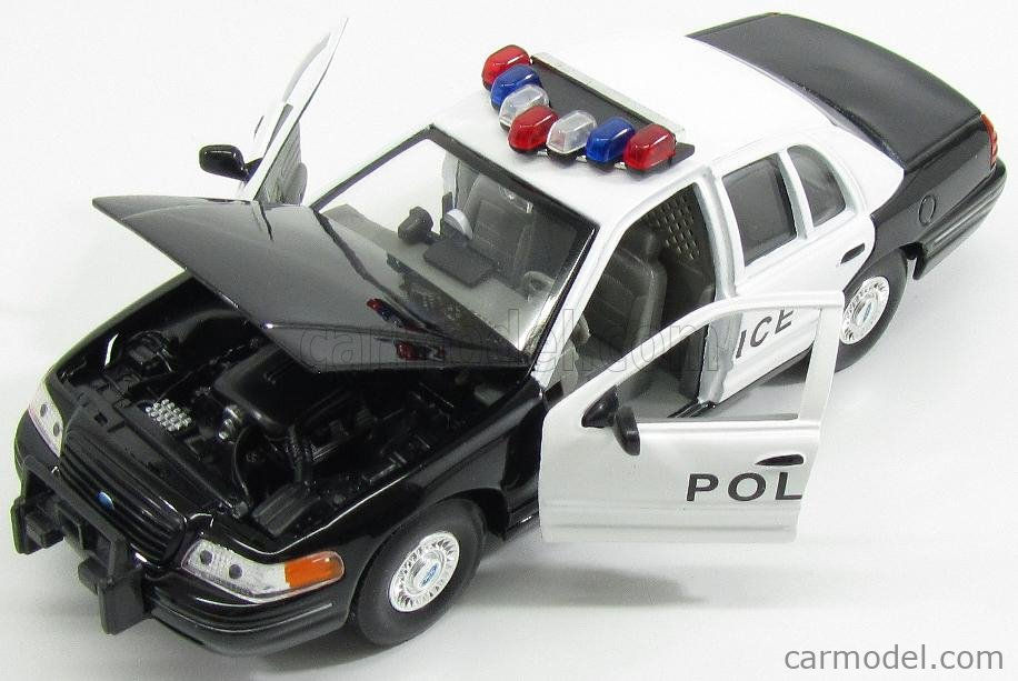 Ford Usa Crown Victoria 1999Police White Black Welly 1:24 WE22082PT Miniature