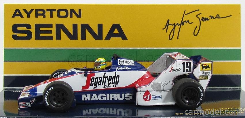 MINICHAMPS 540844339 Masstab: 1/43  TOLEMAN F1  HART TG183B N 19 BRAZILIAN GP 1984 AYRTON SENNA WHITE BLUE RED