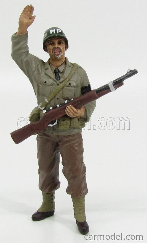 AMERICAN DIORAMA 77414 Echelle 1/18  FIGURES SOLDATO POLIZIOTTO MILITARE CON FUCILE - MILTARY POLICE SOLDIER I WITH RIFLE GUN GREEN BROWN