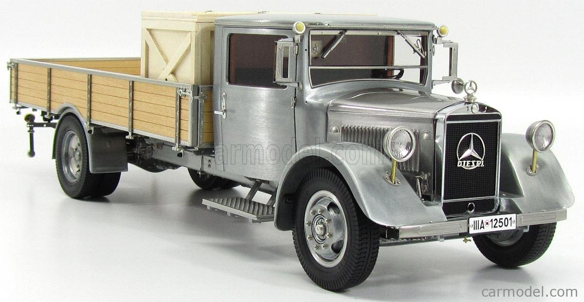 CMC M171 Scale 1/18  MERCEDES BENZ LO2750 PLATFORM TRUCK WITH WOODEN BOX - CASSONATO 1936 GREY