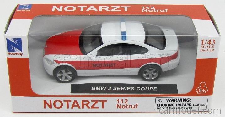 NEWRAY 19543A Scale 1/43  BMW 3-SERIES COUPE (E92) AMBULANCE NOTARZT 2006 WHITE RED