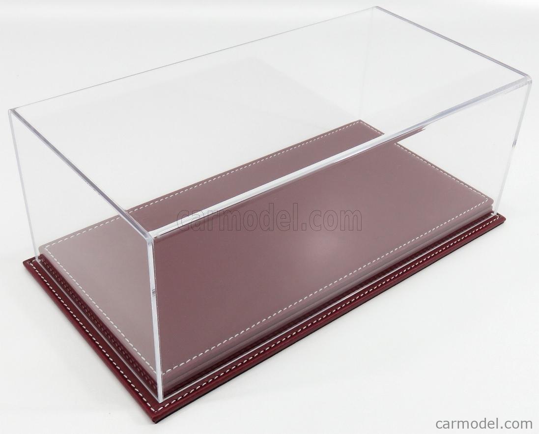 ATLANTIC ATL10075 Масштаб 1/18  VETRINA DISPLAY BOX MOLHOUSE BASE IN PELLE - LEATHER BASE BORDEAUX - Lungh.LENGHT cm 32.5 X Largh.WIDTH cm 16.5 X Alt.HEIGHT cm 12.5 (altezza interna 10.6 cm ) PLASTIC DISPLAY