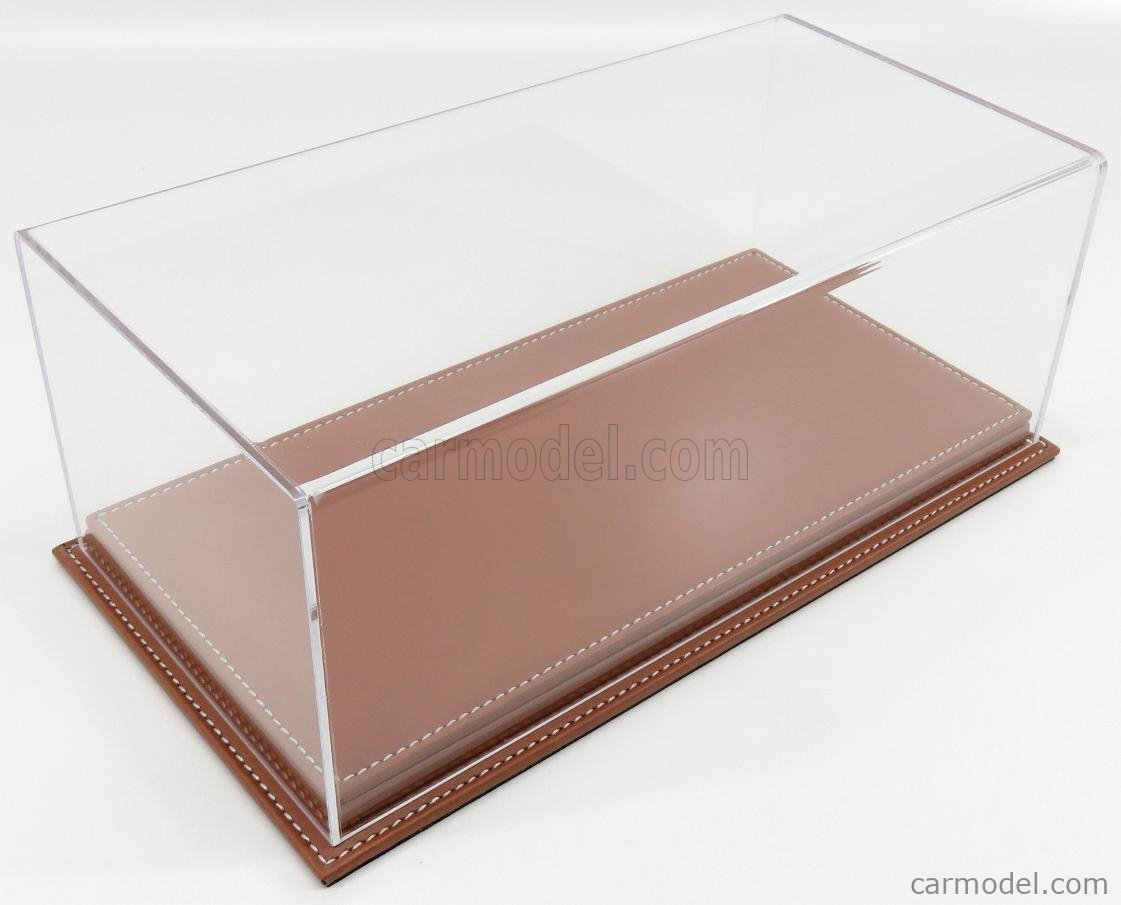 ATLANTIC ATL10071 Масштаб 1/18  VETRINA DISPLAY BOX MOLHOUSE BASE IN PELLE MARRONE - LEATHER BASE BROWN - Lungh.LENGHT cm 32.5 X Largh.WIDTH cm 16.5 X Alt.HEIGHT cm 12.5 (altezza interna 10.6 cm ) PLASTIC DISPLAY