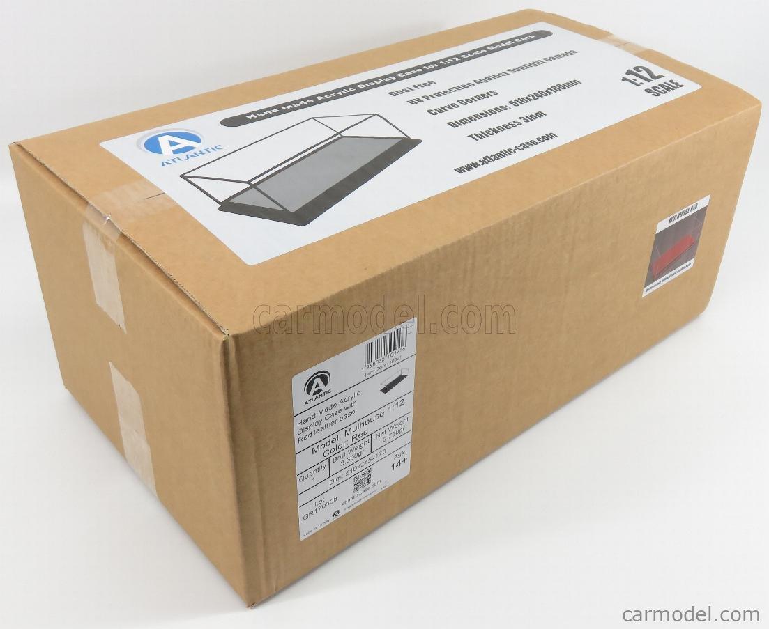 ATLANTIC ATL10091 Escala 1/12  VETRINA DISPLAY BOX MOLHOUSE BASE IN PELLE ROSSA - LEATHER BASE RED - Lungh.LENGHT cm 51 X Largh.WIDTH cm 24 X Alt.HEIGHT cm 19 (altezza interna 15.3 cm) PLASTIC DISPLAY