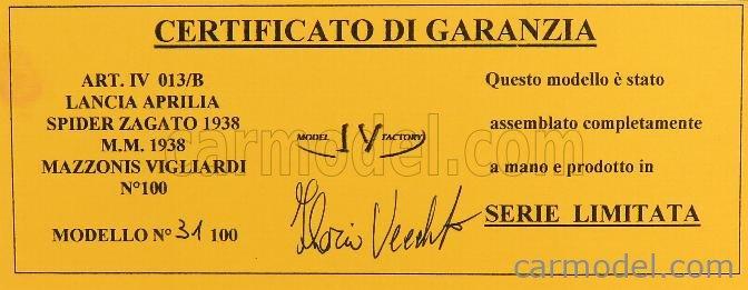 IV-MODEL IVM013 Masstab: 1/43  LANCIA APRILIA SPIDER TANK ZAGATO MILLE MIGLIA 1938 BORDEAUX