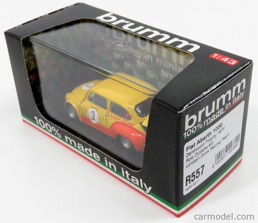 BRUMM R557 Scale 1/43  FIAT 600 ABARTH 1000 TEAM LONDON DRINK RACING N 3 ZANDVOORT 1970 R.DIJKSTRA YELLOW ORANGE