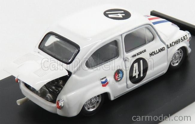 BRUMM R420-UPD Scale 1/43  FIAT 600 ABARTH 1000 BERLINA TEAM LACH 69 S.R.T. HOLLAND N 41 ZANDVOORT TROPHY 1969 WIM BOSHUIS WHITE