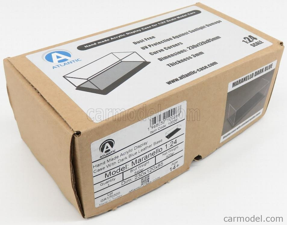 ATLANTIC ATL10026 Масштаб 1/24  VETRINA DISPLAY BOX MARANELLO BASE IN PELLE - LEATHER BASE BLUE - Lungh.LENGHT cm 23 X Largh.WIDTH cm 12 X Alt.HEIGHT cm 8.5 (altezza interna 7.7 cm ) PLASTIC DISPLAY