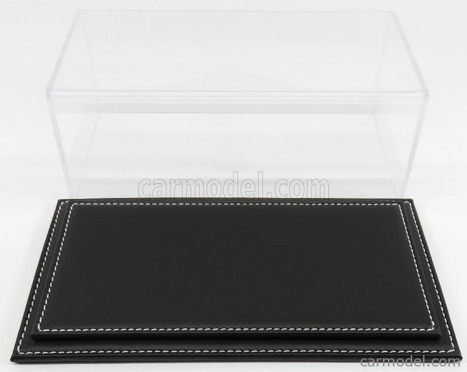 ATLANTIC ATL10023 Масштаб 1/24  VETRINA DISPLAY BOX MARANELLO BASE IN PELLE NERA - LEATHER BASE BLACK - Lungh.LENGHT cm 23 X Largh.WIDTH cm 12 X Alt.HEIGHT cm 8.5 (altezza interna 7.7  cm ) PLASTIC DISPLAY
