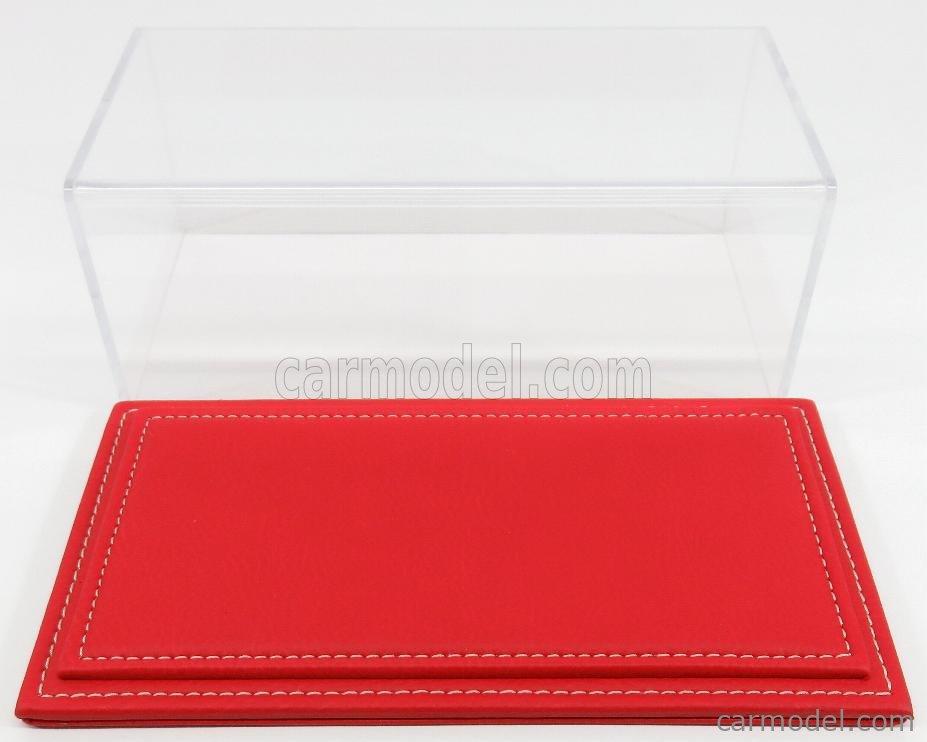 ATLANTIC ATL10022 Масштаб 1/24  VETRINA DISPLAY BOX MARANELLO BASE IN PELLE ROSSA - LEATHER BASE RED - Lungh.LENGHT cm 23 X Largh.WIDTH cm 12 X Alt.HEIGHT cm 8.5 (altezza interna 7.7  cm ) PLASTIC DISPLAY