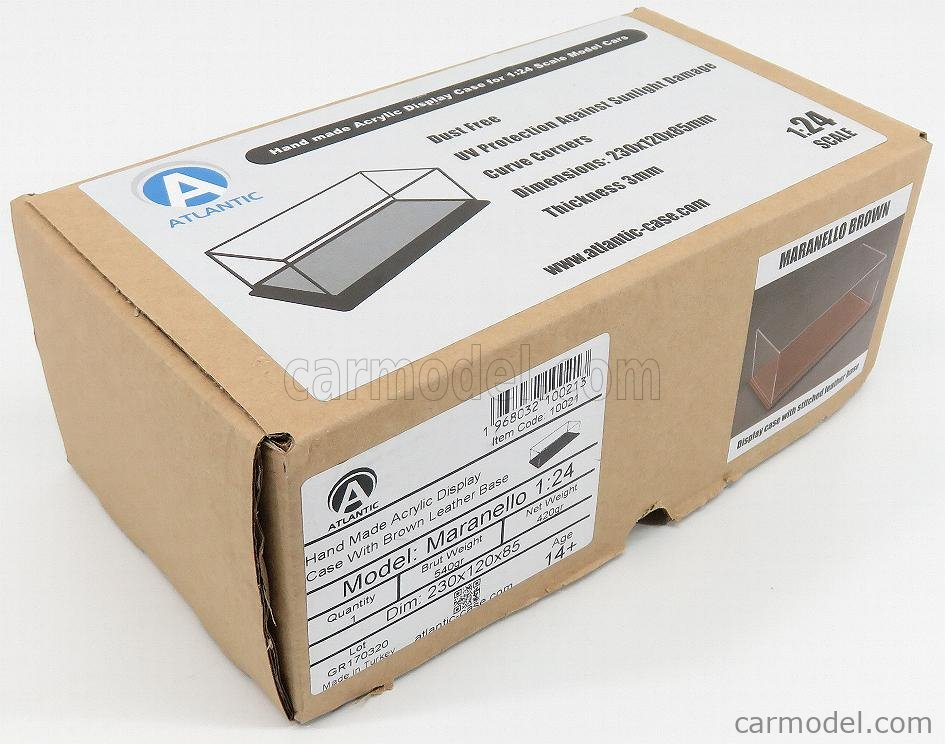 ATLANTIC ATL10021 Масштаб 1/24  VETRINA DISPLAY BOX MARANELLO BASE IN PELLE - LEATHER BASE CUOIO - Lungh.LENGHT cm 23 X Largh.WIDTH cm 12 X Alt.HEIGHT cm 8.5 (altezza interna 7.7 cm ) PLASTIC DISPLAY