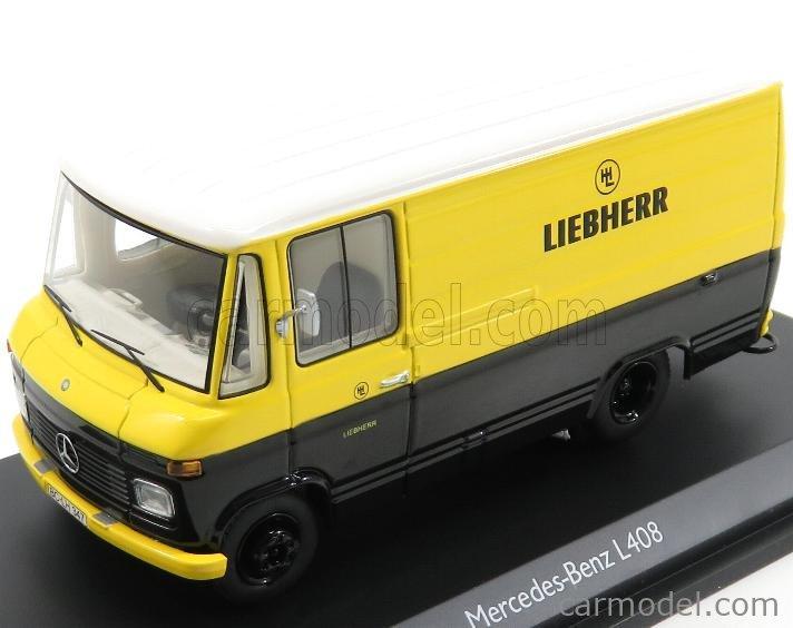 SCHUCO 03573 Masstab: 1/43  MERCEDES BENZ L408 VAN - LIEBHERR 1992 YELLOW BLACK WHITE