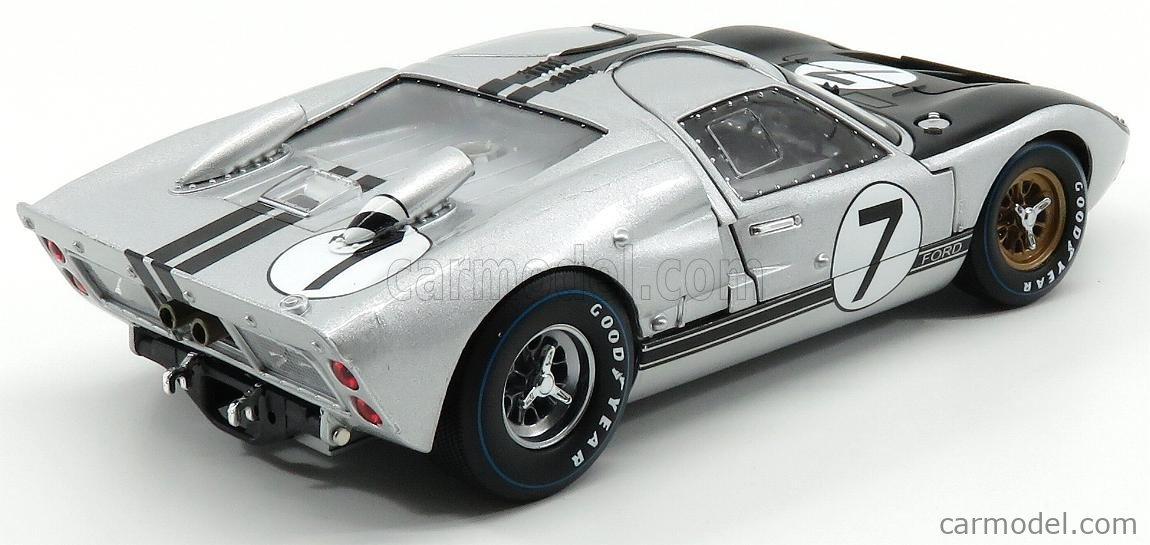 SHELBY-COLLECTIBLES SHELBY404 Scale 1/18  FORD USA GT40 MKII 7.0L V8 TEAM ALAN MANN RACING LTD. N 7 24h LE MANS 1966 G.HILL - B.MUIR SILVER BLACK
