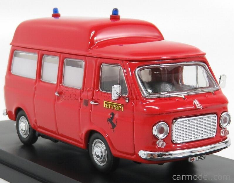 RIO-MODELS 4537 Scale 1/43  FIAT 238 MINIBUS TETTO ALTO 1965 AMBULANZA VIGILI DEL FUOCO PISTA FIORANO 1970 RED