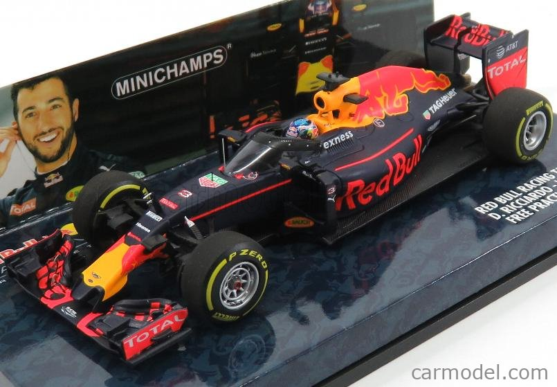 MINICHAMPS 417160203 Scale 1/43  RED BULL F1  RB12 TAG HEUER N 3 AERO SHIELD FREE PRACTICE RUSSIAN GP 2016 D.RICCIARDO MATT BLUE RED YELLOW