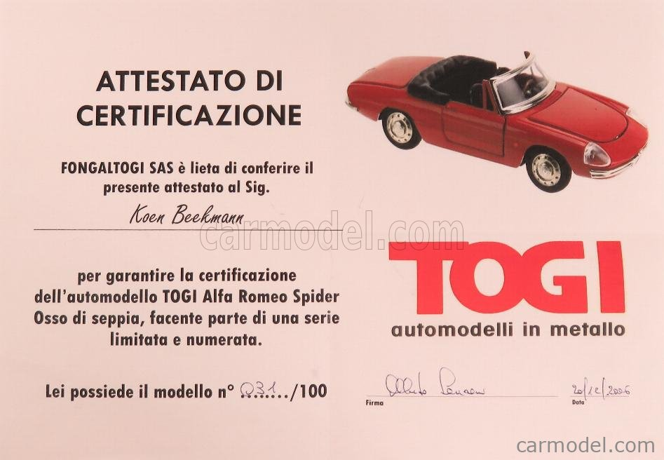 TOGI 9/68 Scale 1/23  ALFA ROMEO  DUETTO SPIDER 1600 1966 - OSSO DI SEPPIA WHITE