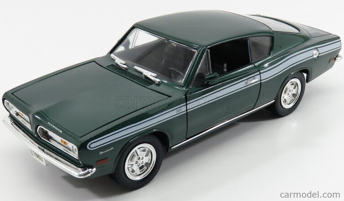 YAT-MING 92178GR Scale 1/18  PLYMOUTH BARRACUDA 383 COUPE 1969 GREEN MET