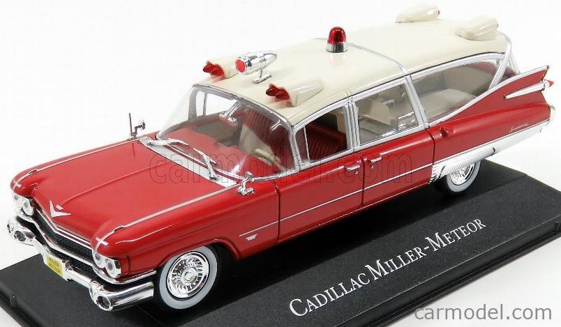 EDICOLA 7495002 Scale 1/43  CADILLAC SUPERIOR MILLER METEOR AMBULANCE 1959 - CON BARELLA - WITH STRETCHER - AMBULANZA RED WHITE