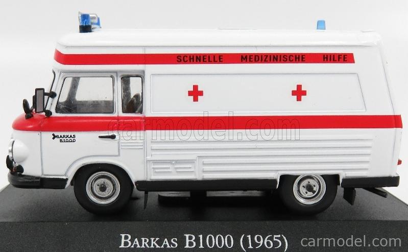 EDICOLA 7495005 Scale 1/43  BARKAS B1000 MINIBUS AMBULANCE 1965 WHITE RED