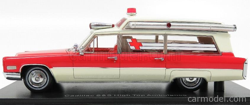 NEO SCALE MODELS NEO43898 Scale 1/43  CADILLAC S&S HIGH TOP AMBULANCE AMBULANZA 1966 RED WHITE
