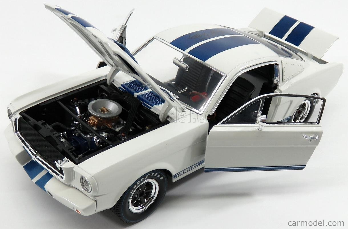 SHELBY-COLLECTIBLES SHELBY168 Scale 1/18  FORD USA SHELBY MUSTANG GT 350R COUPE 19662 - SIGNED 1923-2012 CAROL SHELBY WHITE BLUE