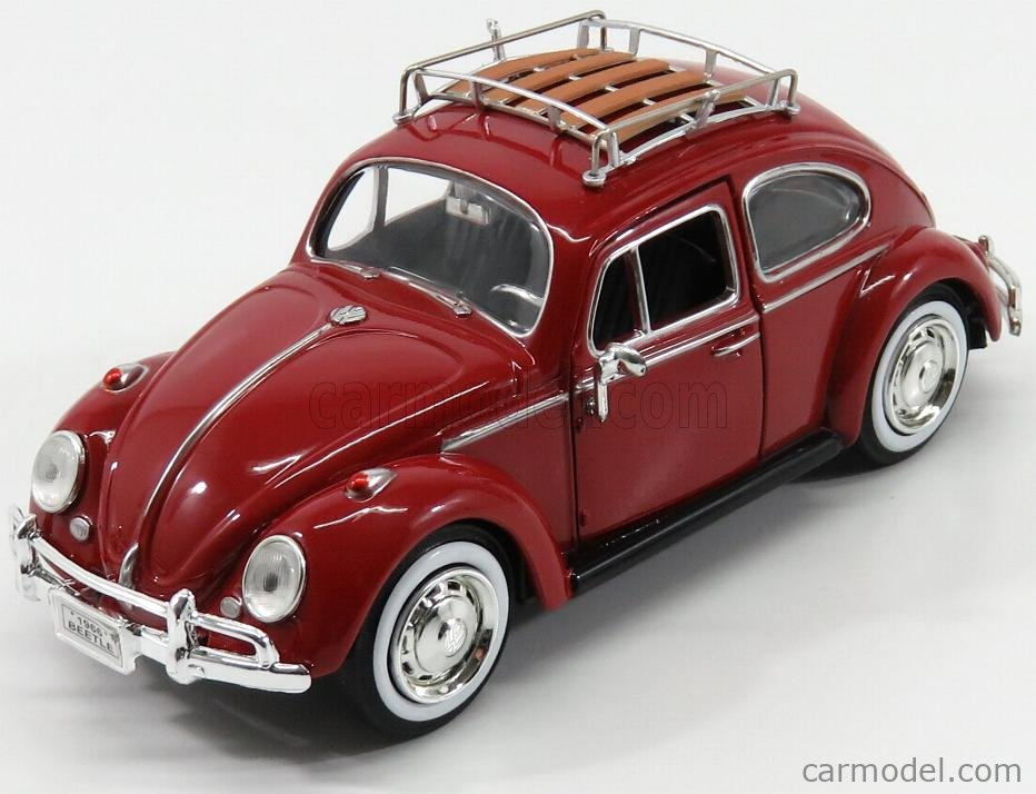 MOTOR-MAX 79559R Scale 1/24  VOLKSWAGEN BEETLE WITH TOP LUGGAGE RACK 1959 RED