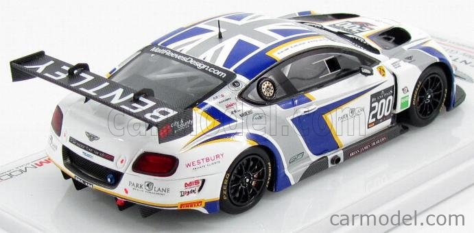 TRUESCALE TSM154355 Masstab: 1/43  BENTLEY CONTINENTAL V8 GT3 TEAM N 200 BRITISH GT CHAMPIONSHIP 2014 J.APPLEBY - S.TANDY WHITE GREY BLUE