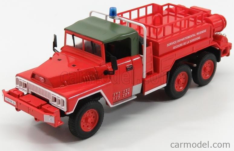 EDICOLA G190E020 Scale 1/43  ACMAT VLRA TANKER TRUCK 6X6 FIRE ENGINE SECOURS DE LA DORDOGNE 1960 RED GREEN