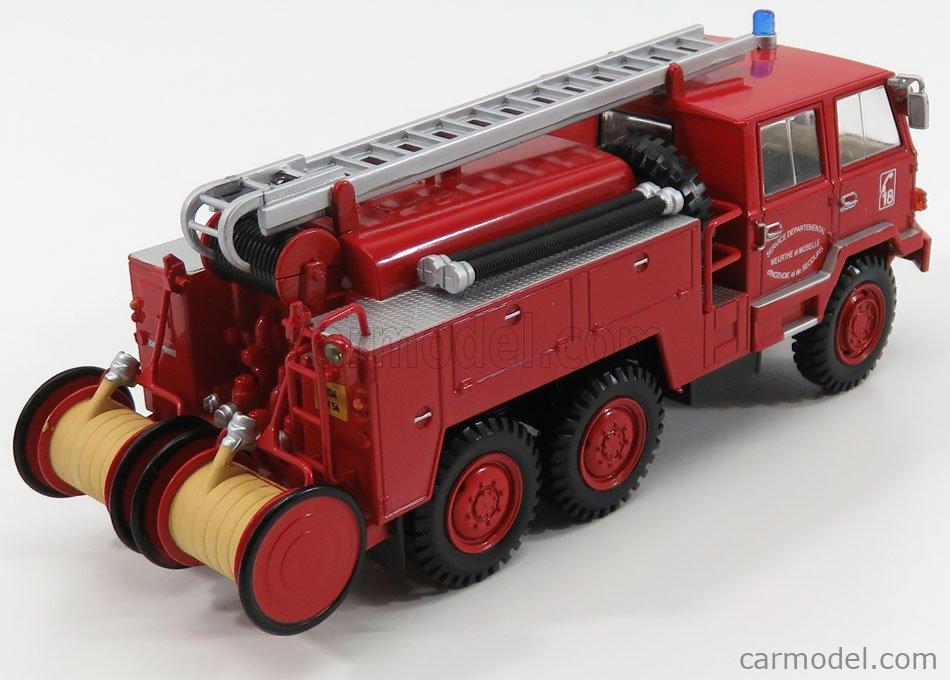 EDICOLA G190E011 Scale 1/43  BERLIET FF 6X6 FPT HR TANKER TRUCK FIRE ENGINE VIGILI DEL FUOCO SERVICE DEPARTEMENTAL SECOURS 1971 RED