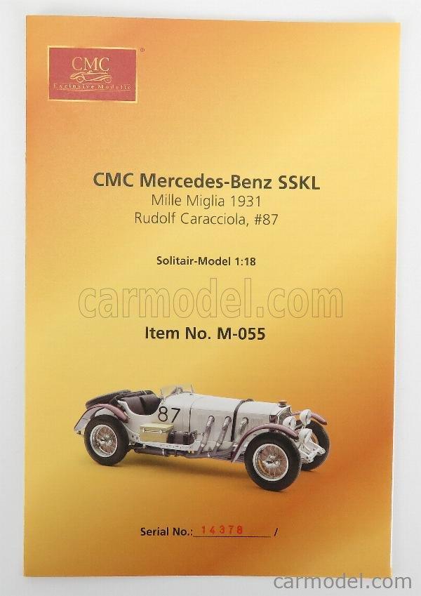 CMC M055 Scala 1/18  MERCEDES BENZ SSKL SPIDER N 87 WINNER MILLE MIGLIA 1931 R.CARACCIOLA WHITE