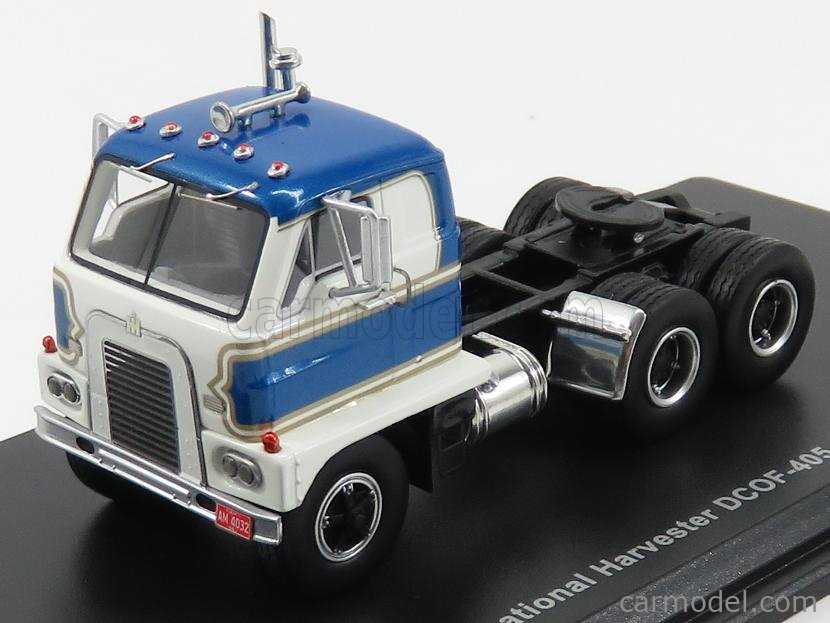 NEO SCALE MODELS NEO64032 Scale 1/64  INTERNATIONAL HARVESTER DCOF-405 TRACTOR TRUCK 3-ASSI 1959 WHITE BLUE