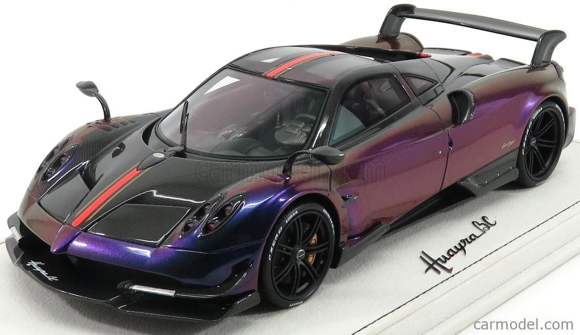 Bbr Models P18128fv Scale 1 18 Pagani Huayra Bc 2016 Con Vetrina With Showcase Chameleon Blue Purple Carbon