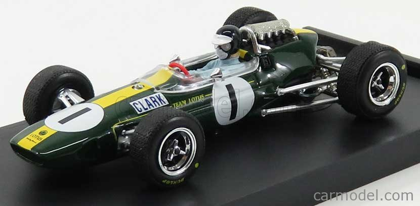 BRUMM R592-CH Echelle 1/43  LOTUS F1  33 N 1 WINNER GERMANY GP JIM CLARK 1965 WORLD CHAMPION - WITH PILOT - FIGURE - 50th ANNIVERSARY 1968 - 2018 GREEN YELLOW
