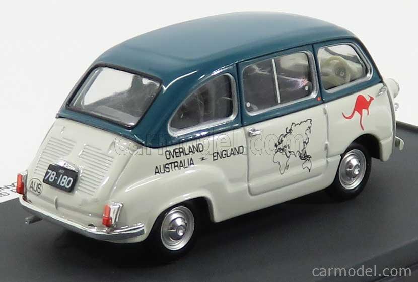 BRUMM PROM S17/16 Echelle 1/43  FIAT 600D MULTIPLA 1961 - OVERLAND AUSTRALIA - ENGLAND 1969 BRUCE THOMAS - STUART HARPER WHITE GREEN