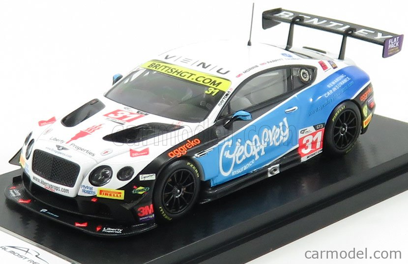 ALMOST-REAL ALM430312 Масштаб 1/43  BENTLEY CONTINENTAL GT3 TEAM PARKER RACING N 31 BRITISH GT CHAMPIONSHIP 2016 MORRIS - PARFITT WHITE LIGHT BLUE