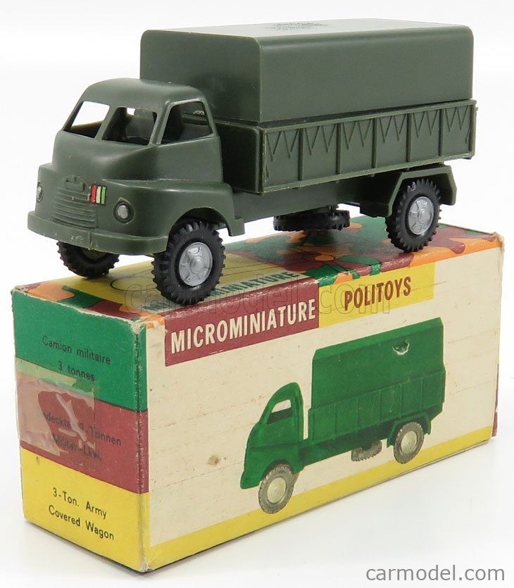 POLITOYS PLAST POLPLM004 Echelle 1/45  BEDFORD 3 TON. ARMY COVERED WAGON - TRUCK - 1 ISSUE MILITARY GREEN