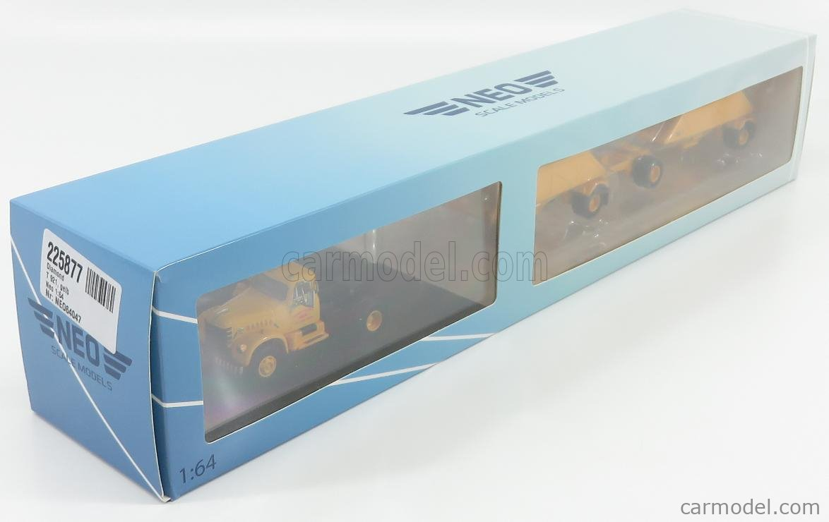 NEO SCALE MODELS NEO64047 Scale 1/64  DIAMOND T921 TRACTOR TRUCK 3-ASSI ARMSTRONG BROS 1977 WITH DOUBLE BOTTOM DUMP TRAILER YELLOW
