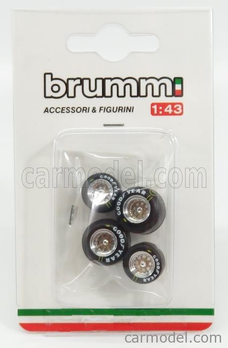 BRUMM F100 Echelle 1/43  ACCESSORIES F1 SET PNEUMATICI GOOD YEAR E CERCHI - TYRES AND WHEELS BLACK SILVER