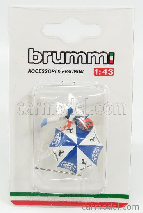 BRUMM CH01U Scala 1/43  FIGURES GILLES VILLENEUVE FOR FERRARI 126C2 F1 WITH UMBRELLA WHITE
