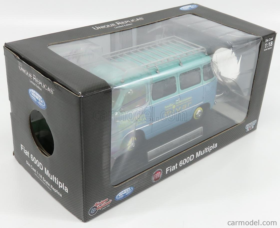 MINIMINIERA CORIASCOMIVAR Scale 1/18  FIAT 600 CORIASCO PULMINO MINIBUS RADIO TELEVISIONE MIVAR 1960 LIGHT BLUE GREEN