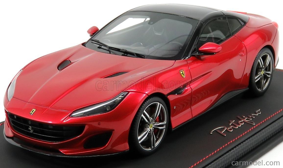 Bbr Models P18157f Masstab 1 18 Ferrari Portofino Cabriolet Closed Black Roof 2017 Rosso Fuoco Red Met Black
