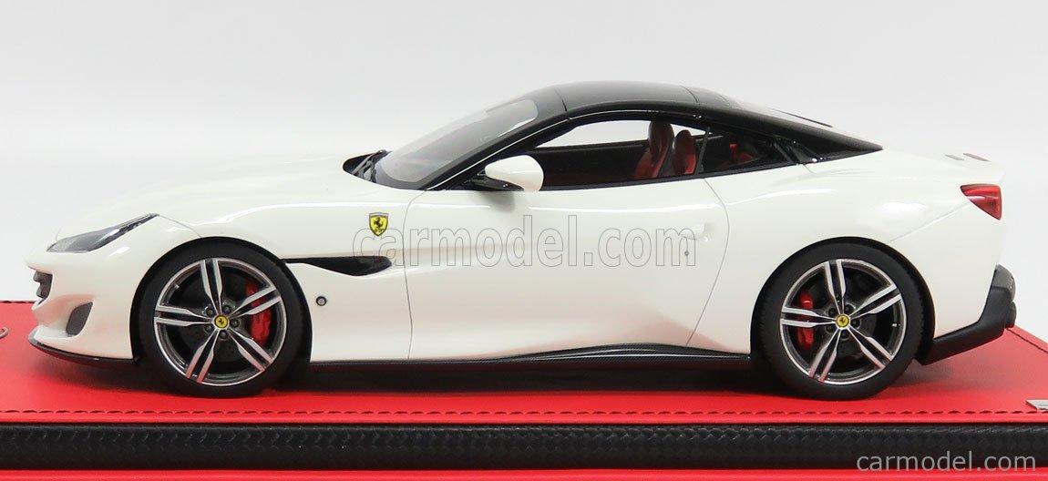 Mr Models Fe023f Masstab 1 18 Ferrari Portofino Cabriolet Closed Black Roof 2017 Con Vetrina With Showcase Bianco Avus White Black