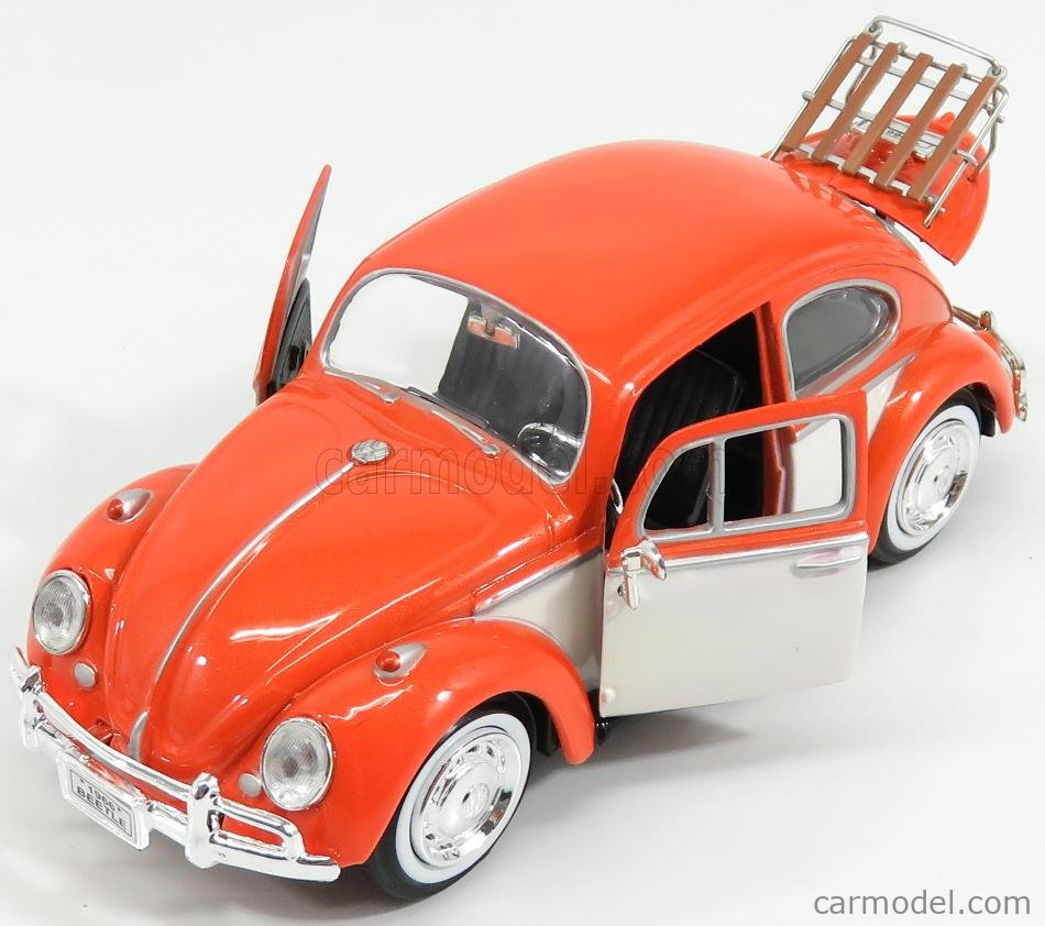 MOTOR-MAX 79558OR Масштаб 1/24  VOLKSWAGEN BEETLE WITH TOP LUGGAGE RACK 1959 ORANGE WHITE