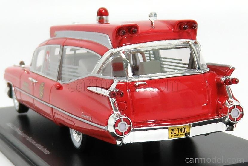 NEO SCALE MODELS NEO45262 Scale 1/43  CADILLAC S&S SUPERIOR LANDAU AMBULANCE 1959 - CON BARELLA - WITH STRETCHER RED WHITE