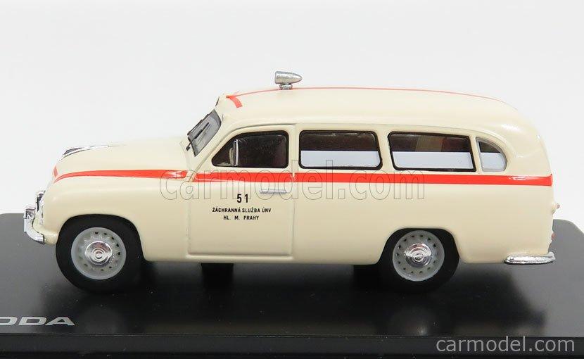 ABREX 143ABSX-718XO Scale 1/43  SKODA 1201 VAN AMBULANCE 1956 CREAM RED