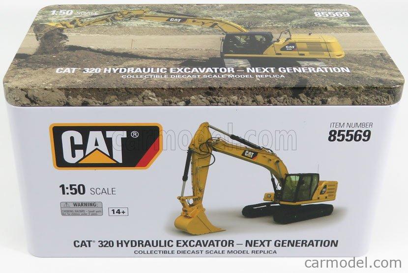 DM-MODELS 85569 Echelle 1/50  CATERPILLAR CAT320 ESCAVATORE CINGOLATO - TRACTOR HYDRAULIC EXCAVATOR - NEXT GENERATION YELLOW BLACK