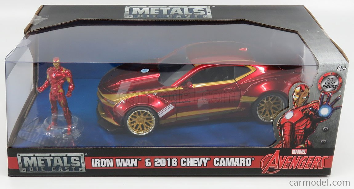 JADA 99724 Масштаб 1/24  CHEVROLET CAMARO COUPE WITH IRON MAN FIGURE 2016 RED GOLD